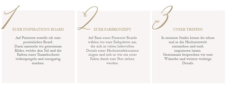 EUER INSPIRATIONS BOARD Auf Pinterest erstelle ich euer persönliches Board. Darin sammeln wir gemeinsam Bilder, welche den Stil und die Farben eurer Traumhochzeit widerspiegeln und einzigartig machen. EUER FARBKONZEPT Auf Basis eures Pinterest Boards wählen wir eure Farbpalette aus, die sich in vielen liebevollen Details eurer Hochzeitsdekoration zeigen und sich so wie ein roter Faden durch euer Fest ziehen werden.UNSER TREFFEN In meinem Studio könnt ihr schon mal in die Hochzeitswelt eintauchen und euch inspirieren lassen. Gemeinsam besprechen wir eure Wünsche und weitere wichtige Details.