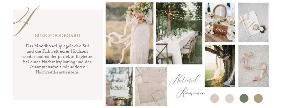 Das Moodboard spiegelt den Stil und die Farbwelt eurer Hochzeit wieder und ist der perfekte Begleiter bei eurer Hochzeitsplanung und der Zusammenarbeit mit anderen Hochzeitdienstleistern.