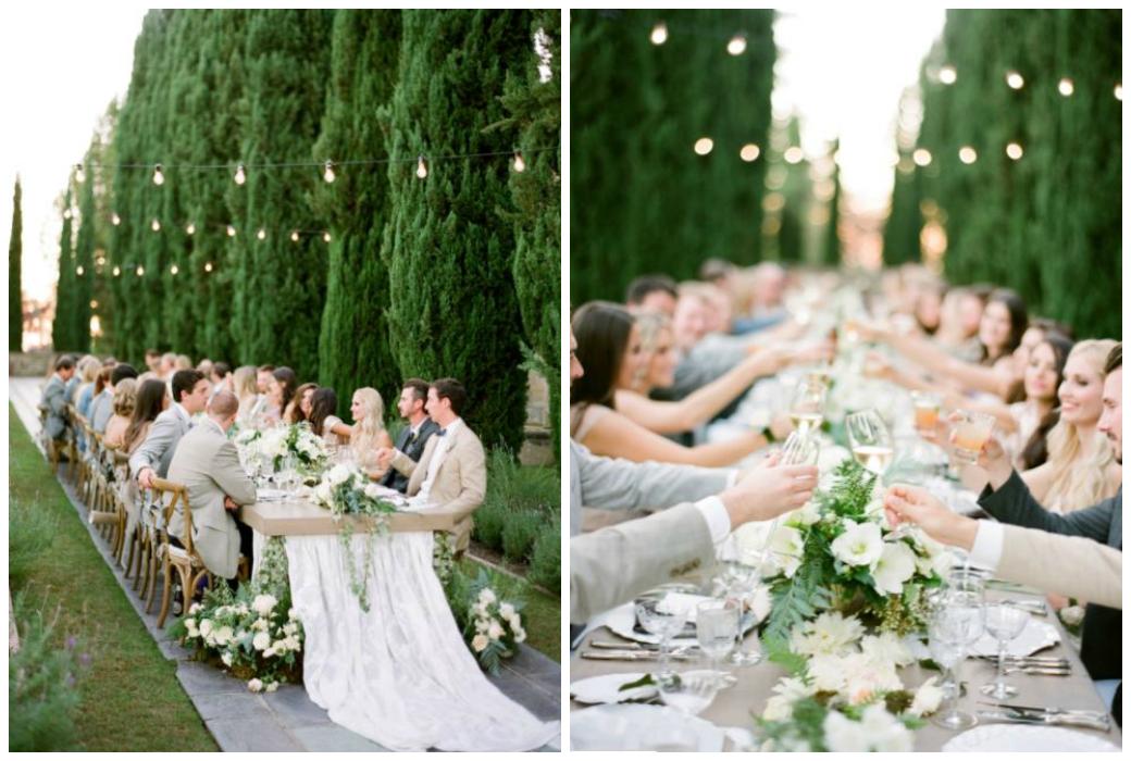 Hochzeitstrends 2018 - kleine, persönliche Hochzeiten an langen Hochzeitstafeln