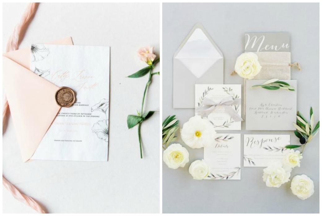 Hochzeitstrends 2018 - Papeterie mit Blumen und Kalligraphie