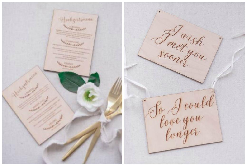 Hochzeitsdekoration aus Holz Lasercut, Hochzeitsmenü, Stuhlhänger, Platzkarten, Hochzeitsschilder